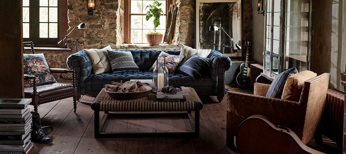 Rustic chic living room set featuring shades of blue & brown