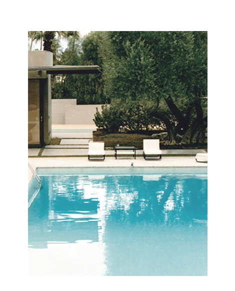 Photograph of modern pool area.