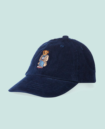 Navy baseball cap with Polo Bear at the front.