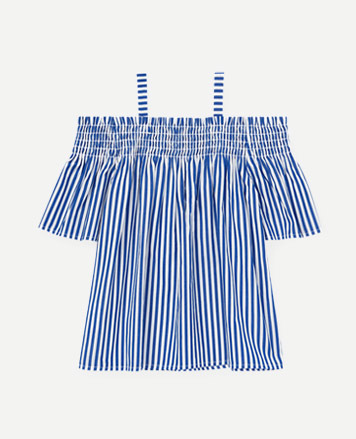 Blue-and-white striped off-the-shoulder top.