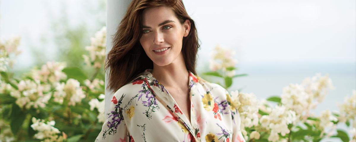 Model Hilary Rhoda in floral-print dress