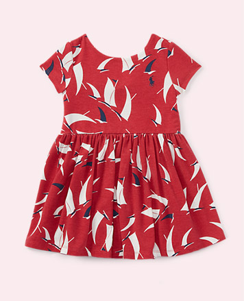Sailboat-print red dress.