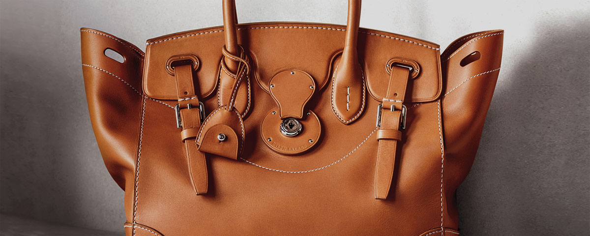 Close-up image of rich tan leather Ricky Bag