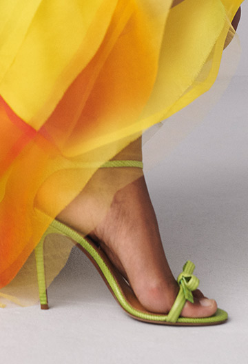 Light green stiletto sandal with bow accent