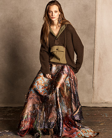 Woman in painterly floor-length skirt