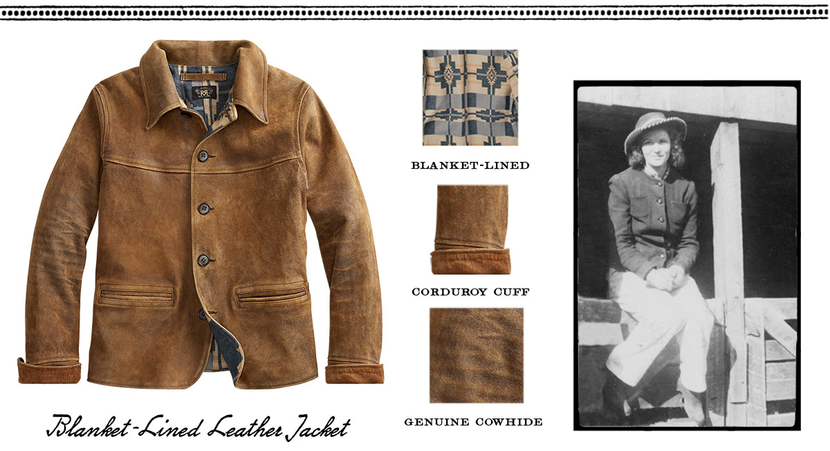 Brown cowhide jacket & vintage photograph of woman wearing similar jacket