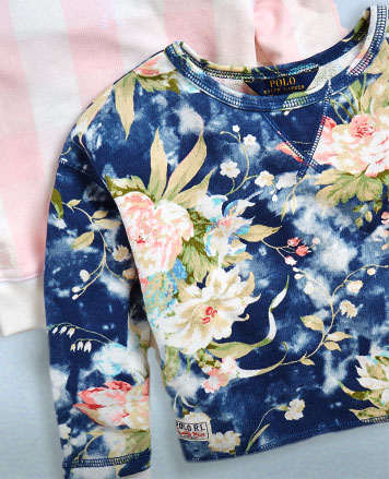 French terry sweatshirts in pink-and-white stripes and a graphic floral print.