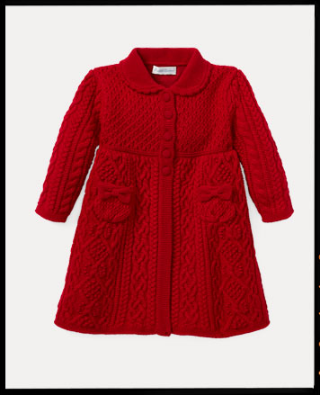 Red Aran-knit wool sweater coat.