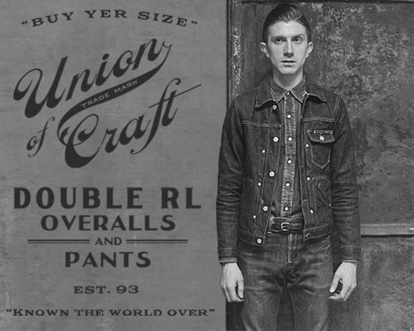 Greyscale image of man in denim jacket & workwear