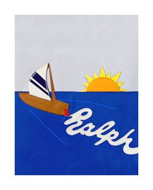 Illustration of colorful sailboat & Ralph Lauren script