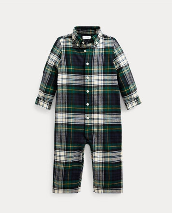 Green plaid button-down coverall.