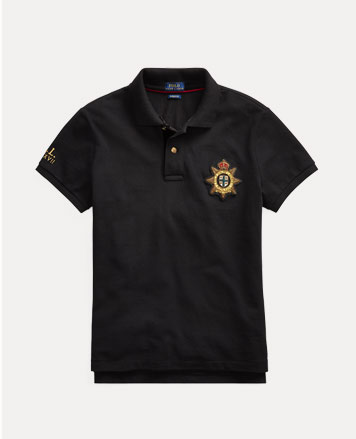 Black Polo shirt with crest shield patch at chest