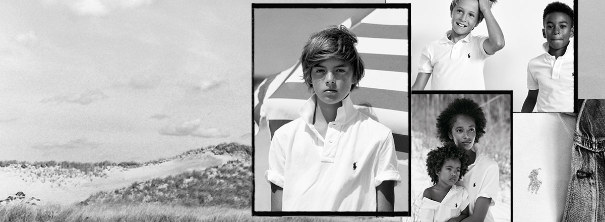 Collage of black-and-white images of kids in Polo shirts.