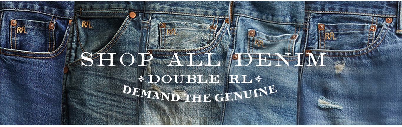 Row of Double RL denim in various washes