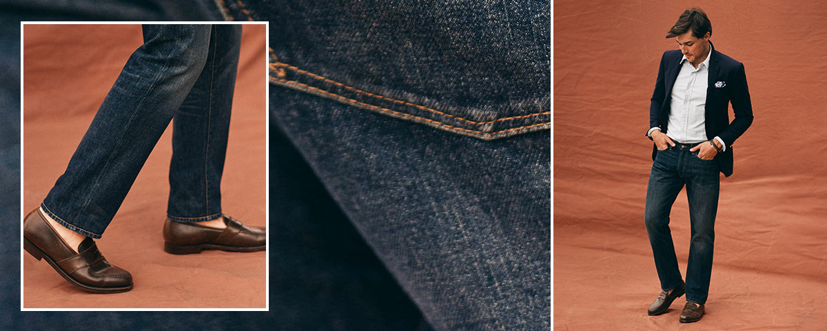 Close-up of Hampton Relaxed Straight jean; man wears Polo denim.