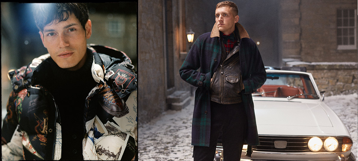 Man in bold graphic puffer & man in plaid peacoat