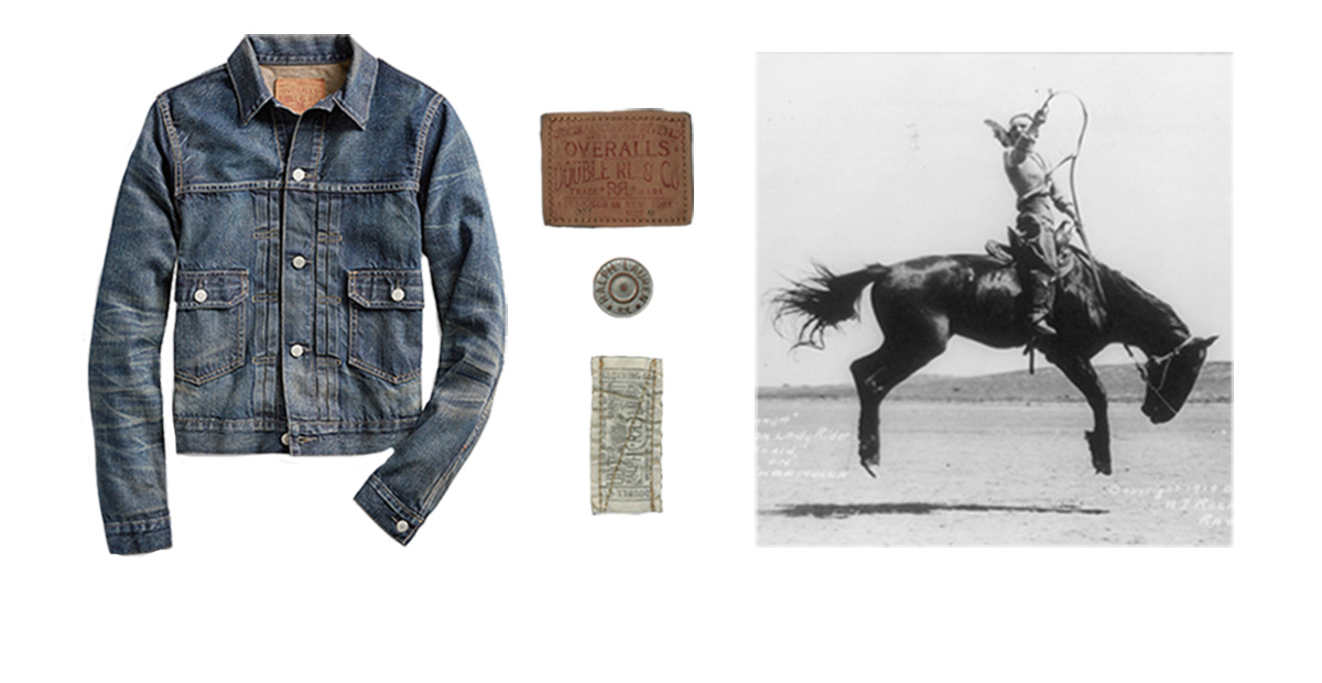 Denim trucker jacket next to image of woman on bucking bronco
