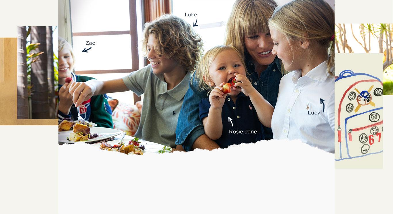 The Smith Family eats breakfast before school.