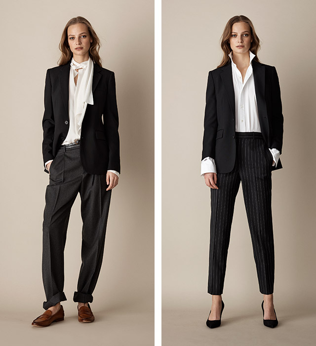 Woman in blazer worn two ways