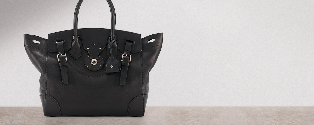 Black leather Ricky bag with silver hardware