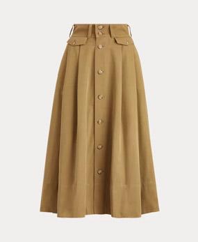 Flared Twill Midi Skirt