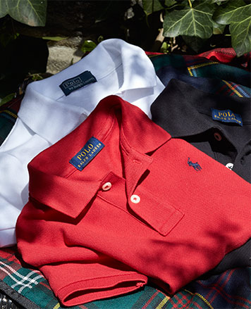Short-sleeve Polo shirts in red, white, and black.