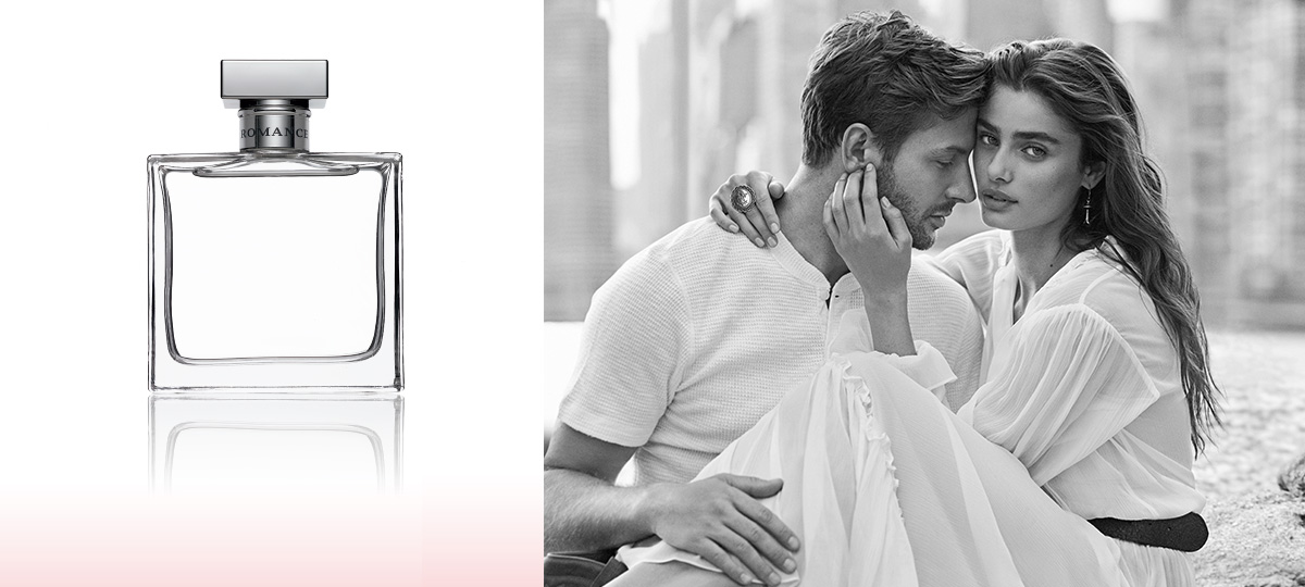 Bottle of Romance perfume & Taylor Hill & Michael Stephen Shank