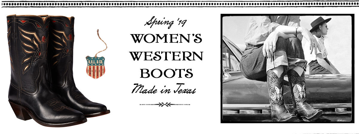Black cowboy boot with Western motifs & vintage photograph
