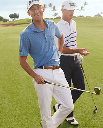Man on course in white pants & light blue Polo shirt