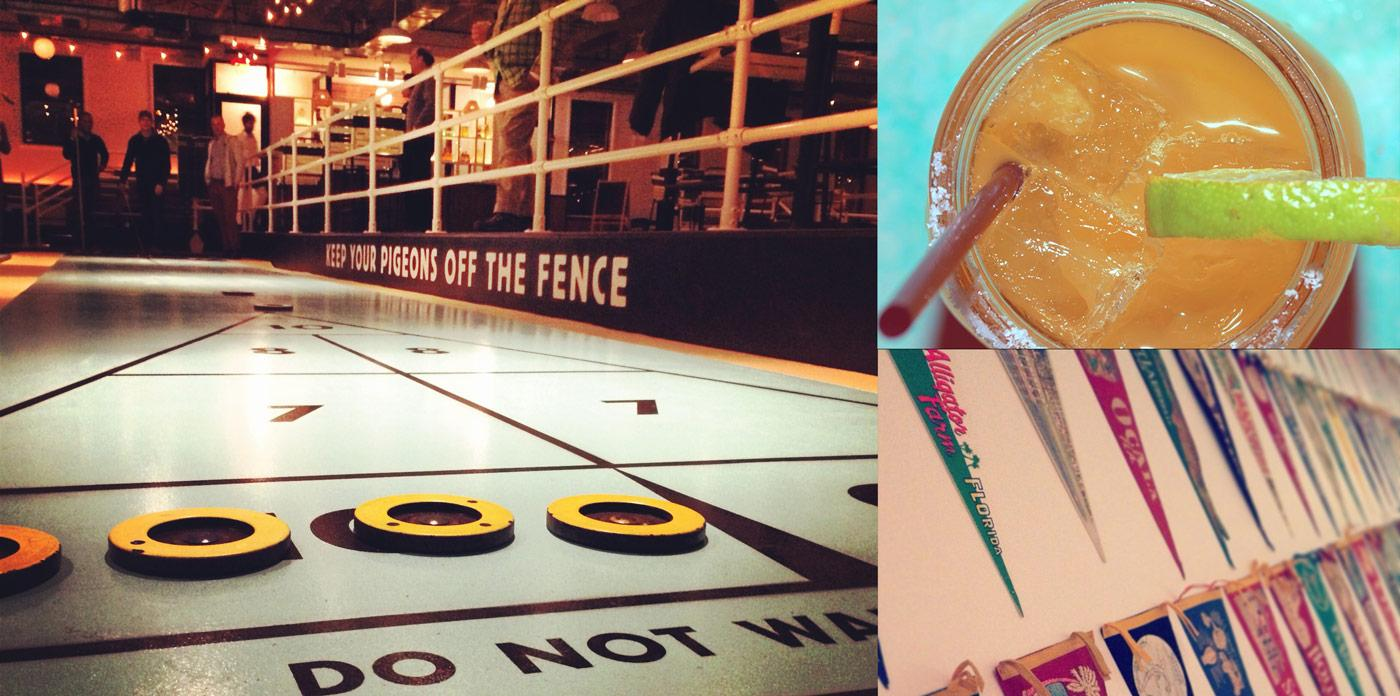 Open courts, cold drinks, and vintage décor at Brooklyn's Royal Palms Shuffleboard Club