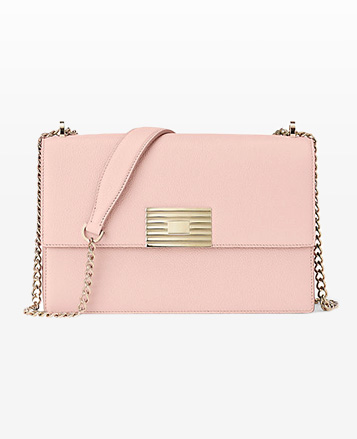 Blush pink shoulder bag with engine-turned plaque & chain strap