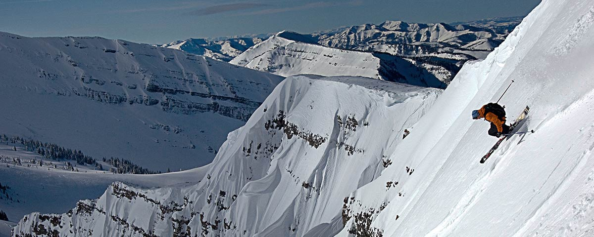 Photograph of skier on mountain in Jackson Hole, Wyoming