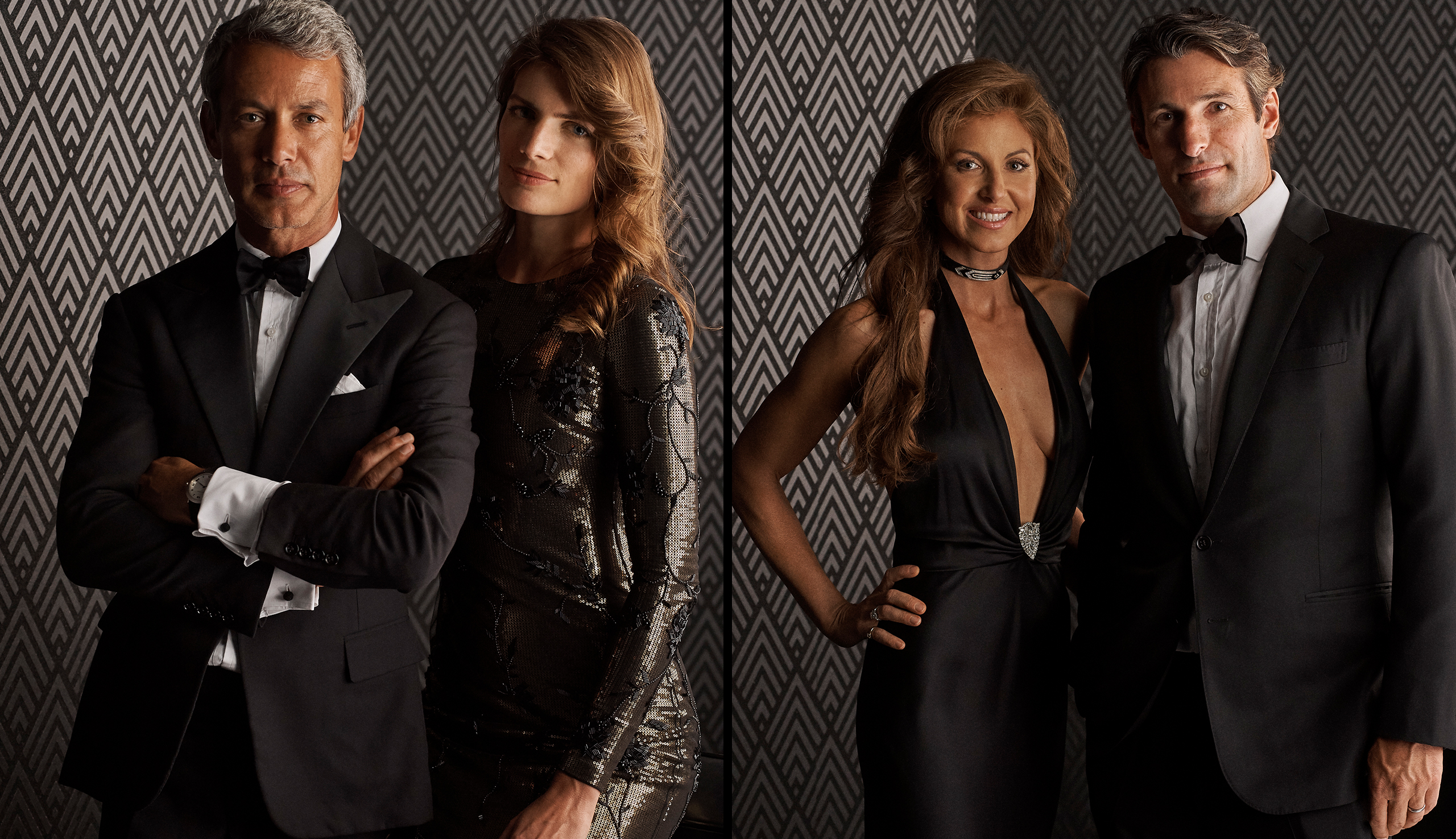 Left: Andrew Lauren and Natascha Schuetz; Right: Dylan Lauren and Paul Arrouet