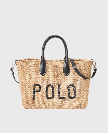 Jute handbag with Polo lettering & black leather handles & straps