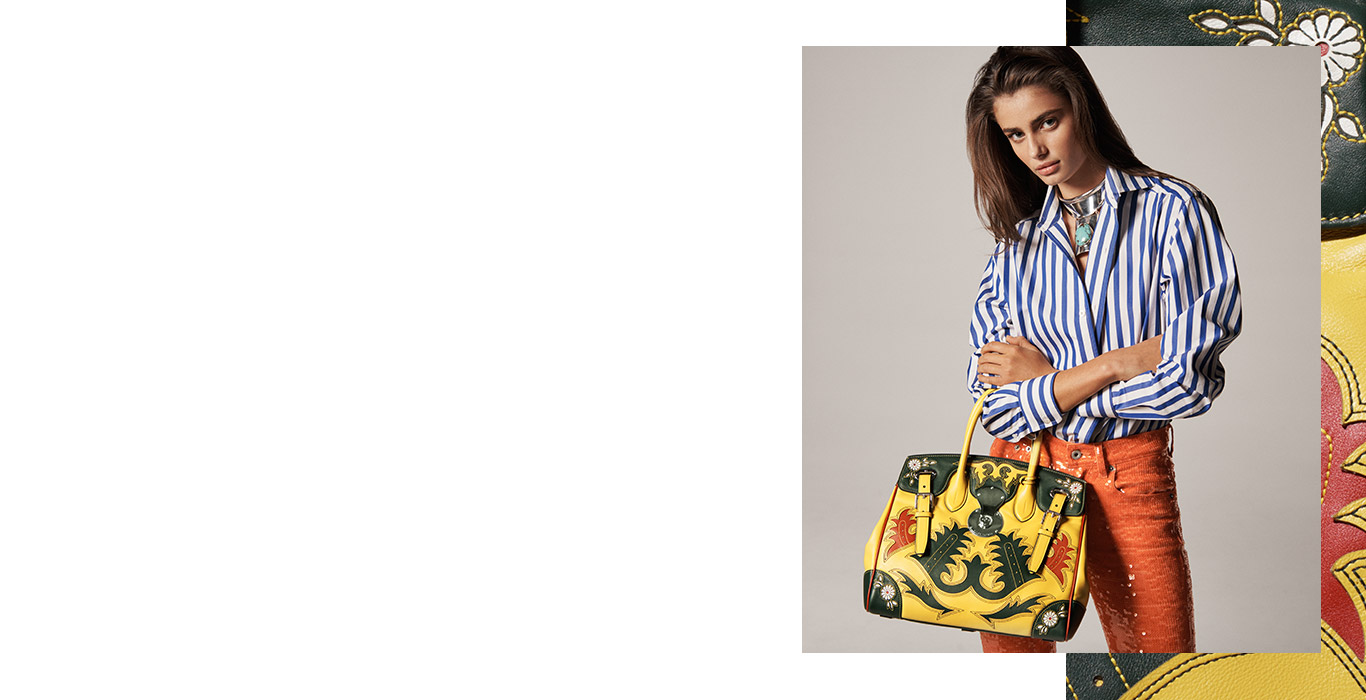 Woman carrying tan Ricky 33 bag with black & red Western motifs