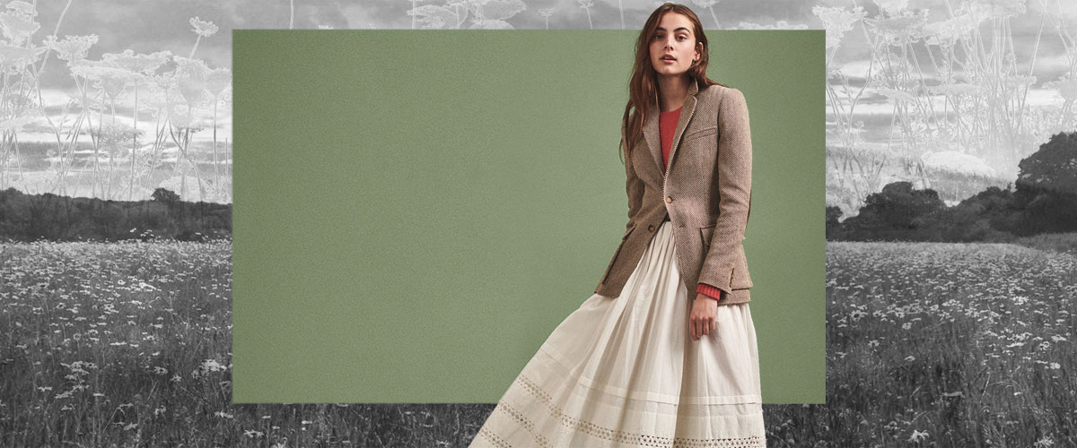 Woman in wool blazer paired with prairie skirt