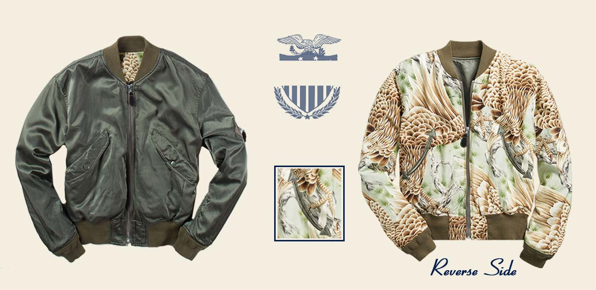Military green bomber jacket with eagle-inspired print on reverse side