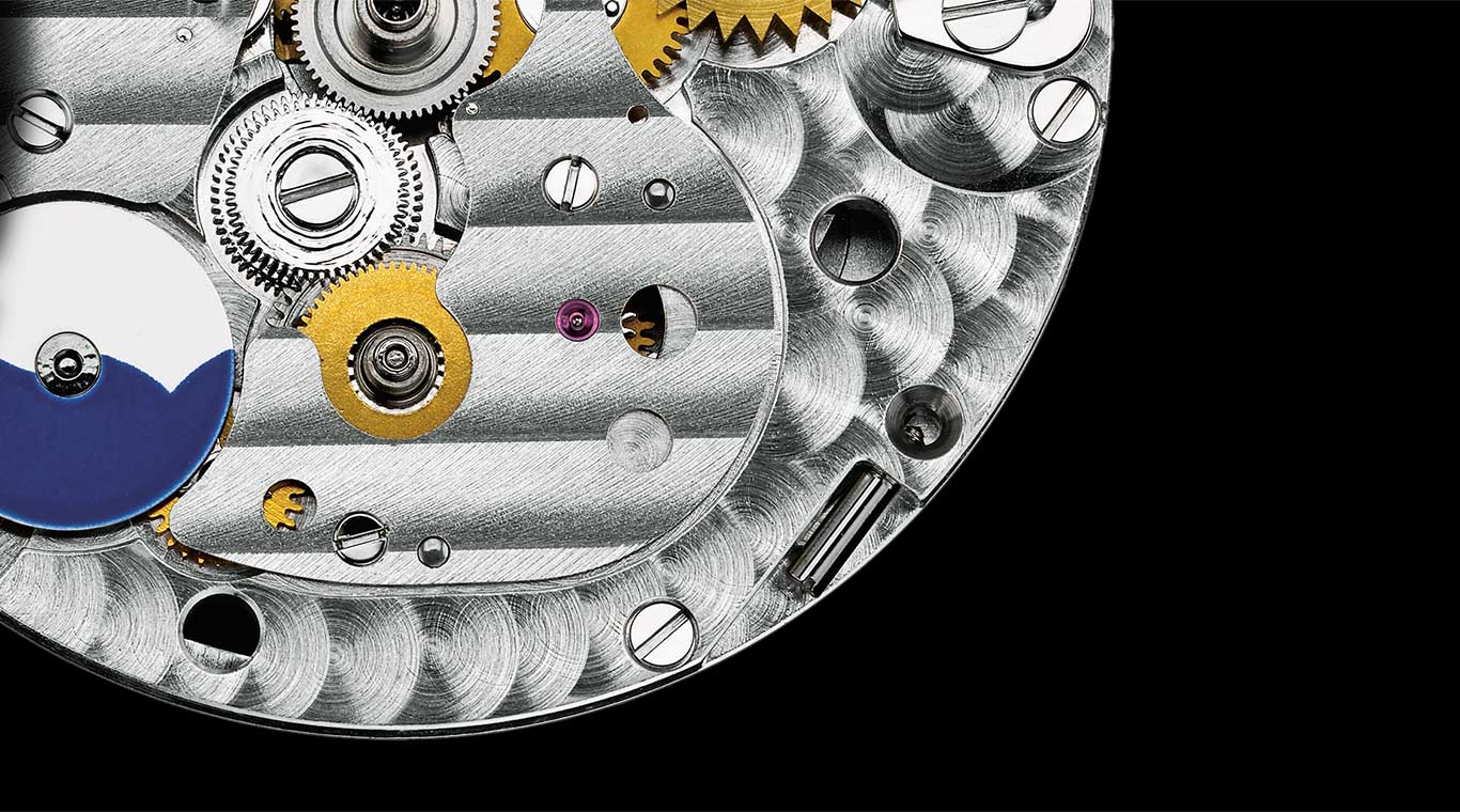 The intricate movement of the World Time watch allows for simultaneous display of two time zones.