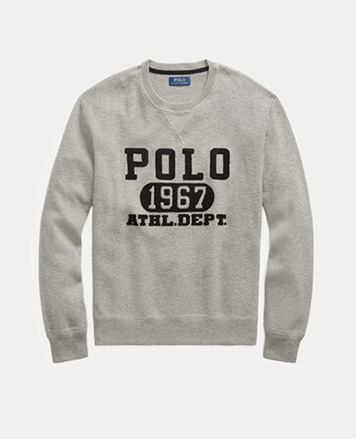 Man in athletic-inspired grey Polo sweatshirt