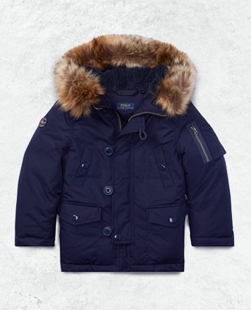 Navy winter coat with faux-fur lining at the hood.