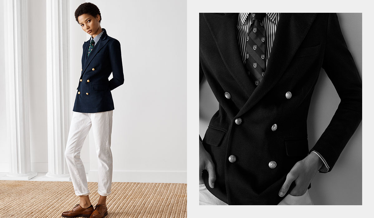 Model in navy blazer paired with white pants