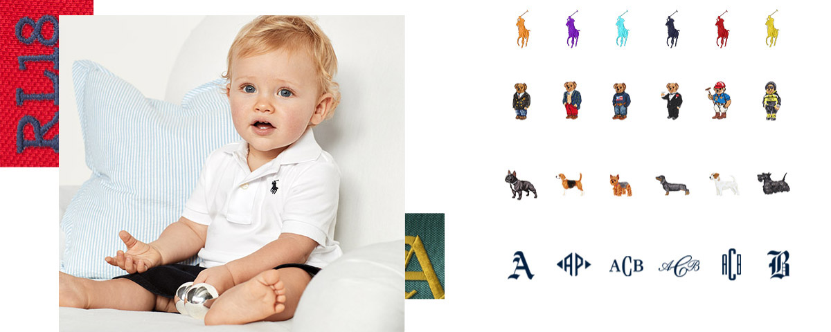 Baby boy wears customizable white Polo shirt with navy blue signature embroidered pony.