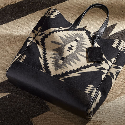Tote bag with black & cream motif inspired by Southwestern blankets