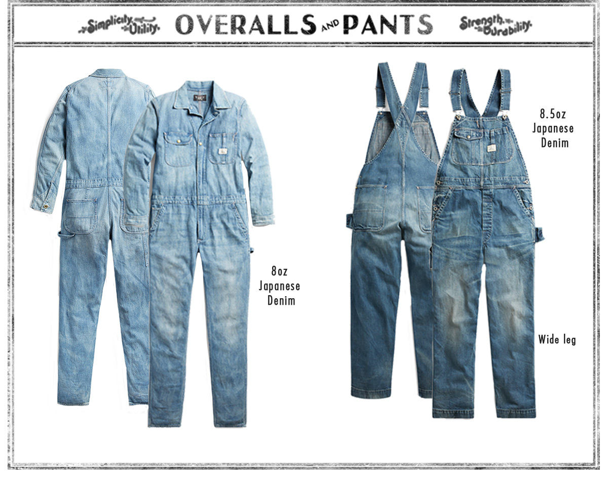 Front & back of distressed denim coveralls & overalls