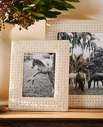 White woven-leather picture frames