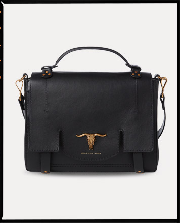 Black leather shoulder bag with gold steer-head accent