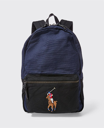 Navy & black backpack with Big Pony at front zip pocket