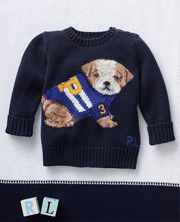 Navy sweater with bulldog knit at the front.