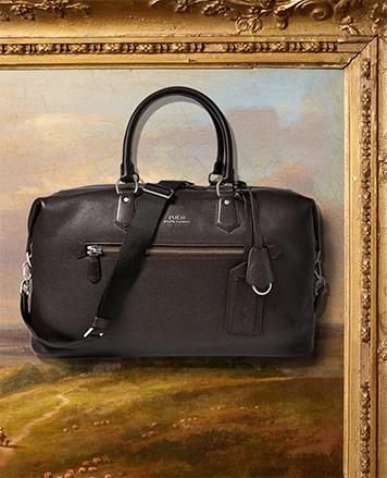 Black leather duffel bag