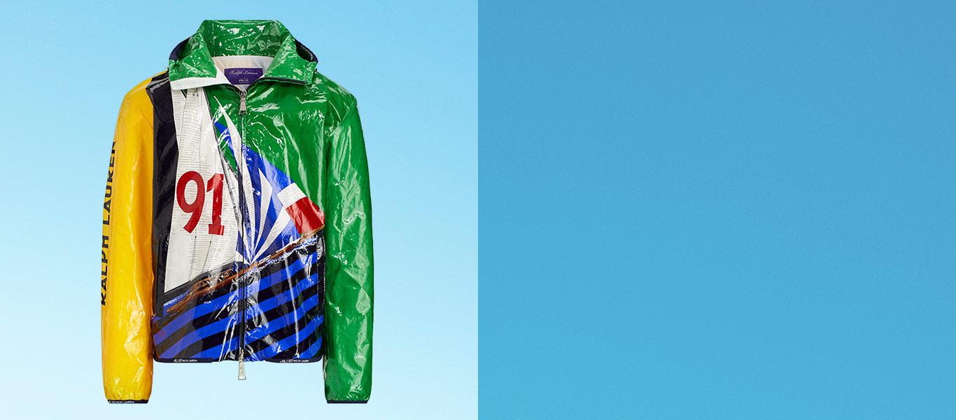 Laminated hoodie with sailboat-inspired graphics in primary colors